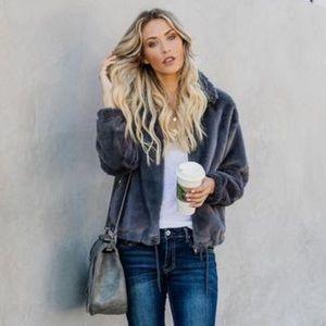 VICI Faux Fur Pocket Drawstring Jacket Charcoal S